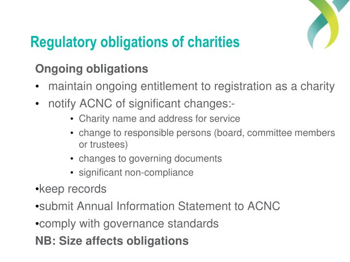 Regulatory obligations of charities
