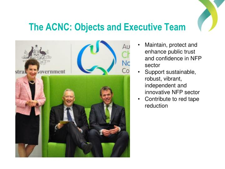 The ACNC: Objects and Executive Team