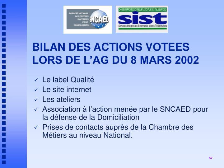 BILAN DES ACTIONS VOTEES LORS DE L'AG DU 8 MARS 2002
