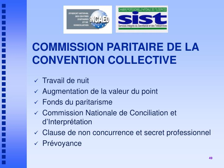 COMMISSION PARITAIRE DE LA CONVENTION COLLECTIVE