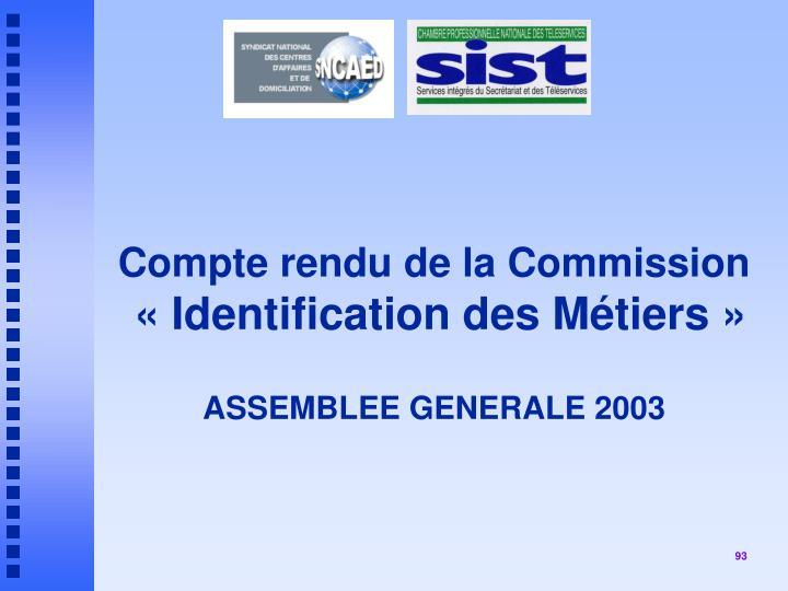 Compte rendu de la Commission