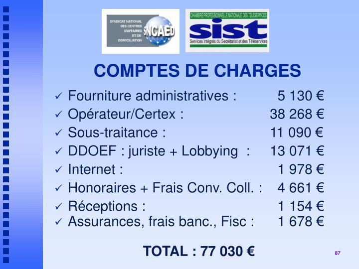 COMPTES DE CHARGES