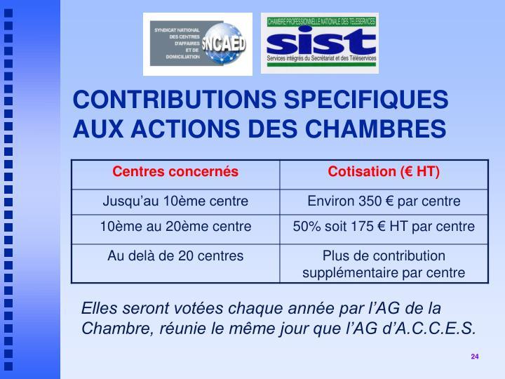 CONTRIBUTIONS SPECIFIQUES AUX ACTIONS DES CHAMBRES