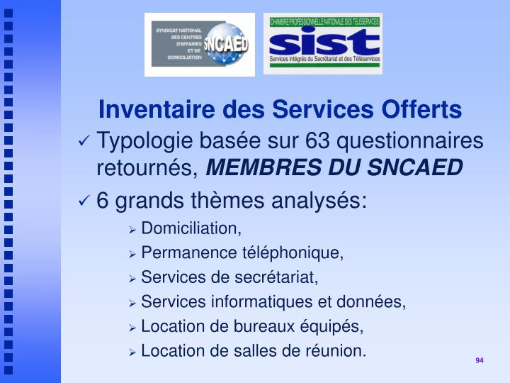 Inventaire des Services Offerts