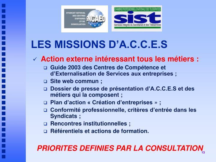 LES MISSIONS D'A.C.C.E.S