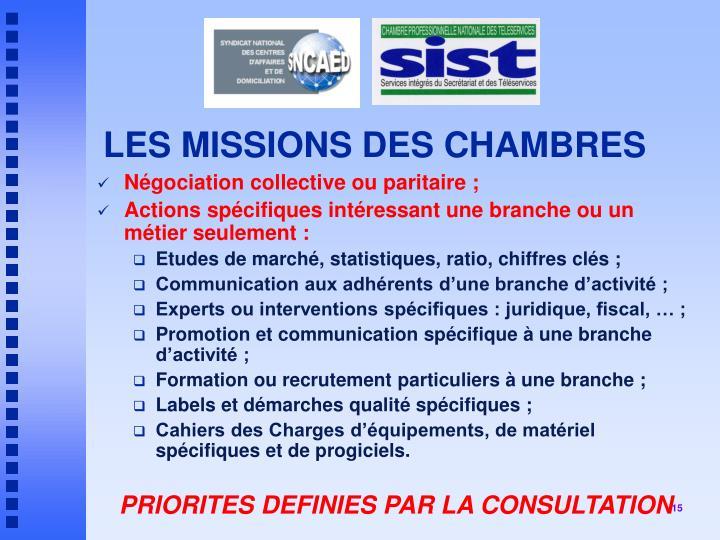 LES MISSIONS DES CHAMBRES