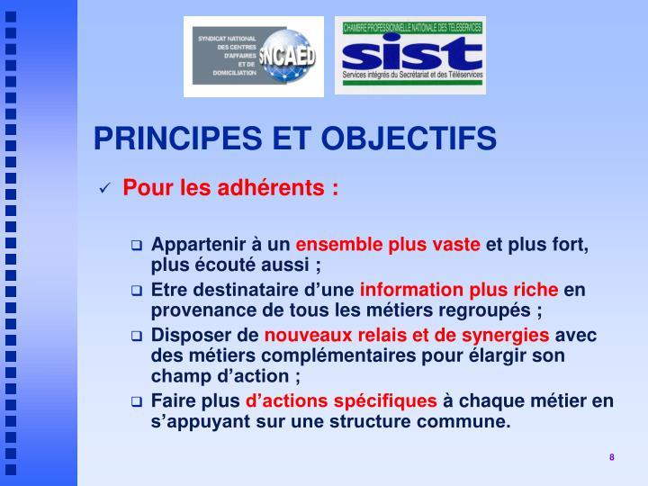 PRINCIPES ET OBJECTIFS