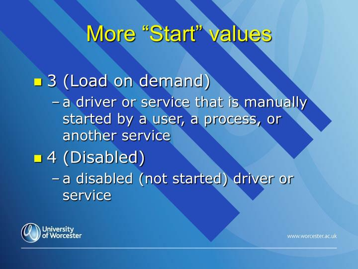 "More ""Start"" values"