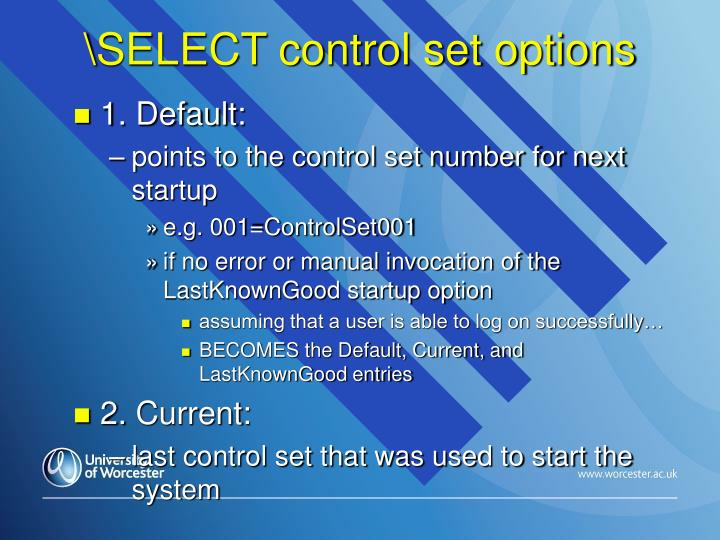 \SELECT control set options