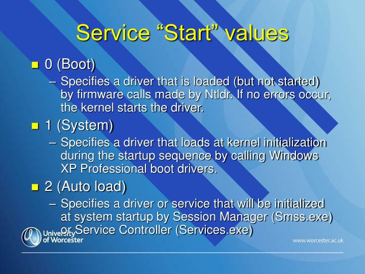 """Service """"Start"""" values"""