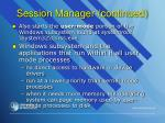 session manager continued