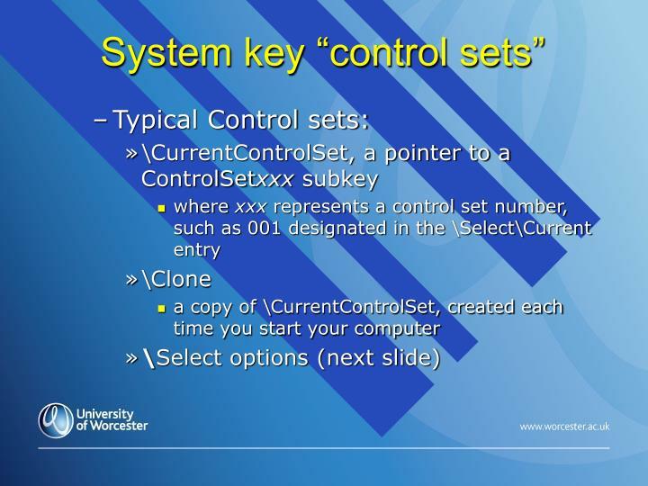"System key ""control sets"""