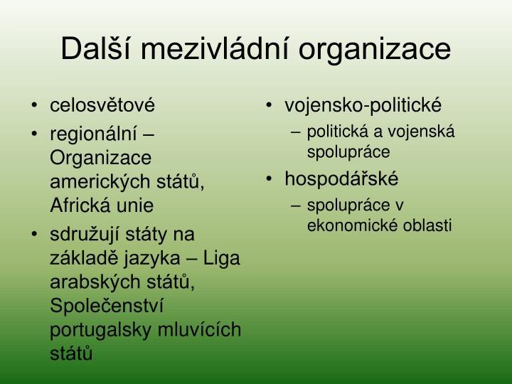 Další mezivládní organizace