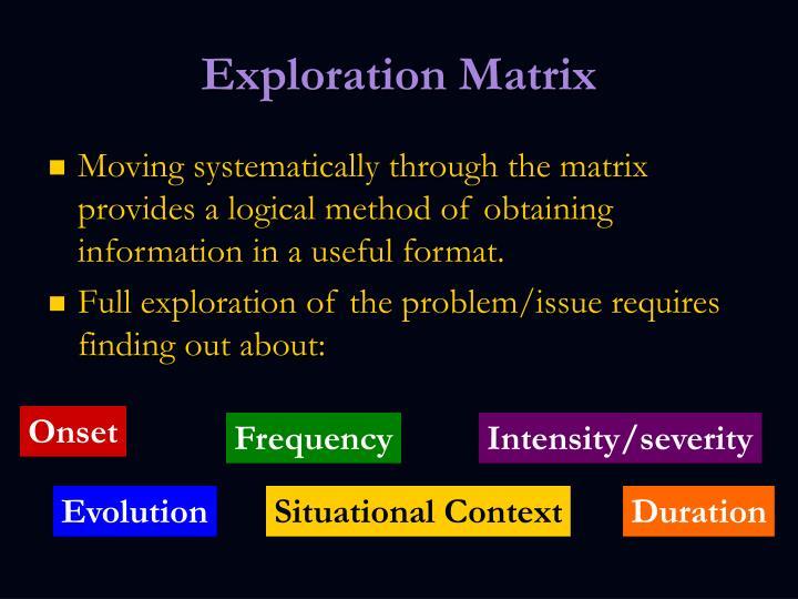 Exploration Matrix