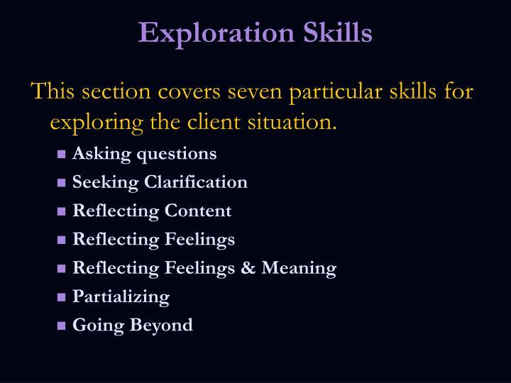 Exploration Skills
