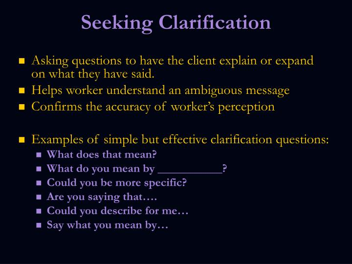 Seeking Clarification