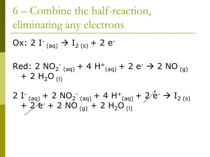 6 – Combine the half-reaction, eliminating any electrons