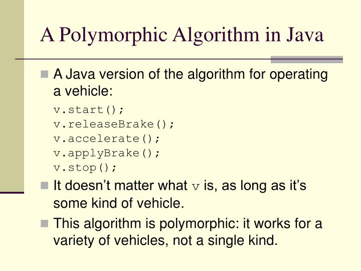 A Polymorphic Algorithm in Java