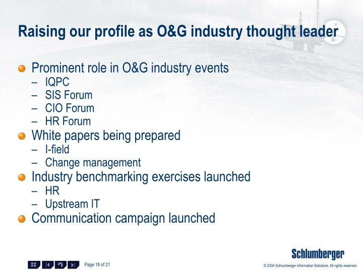 Raising our profile as O&G industry thought leader