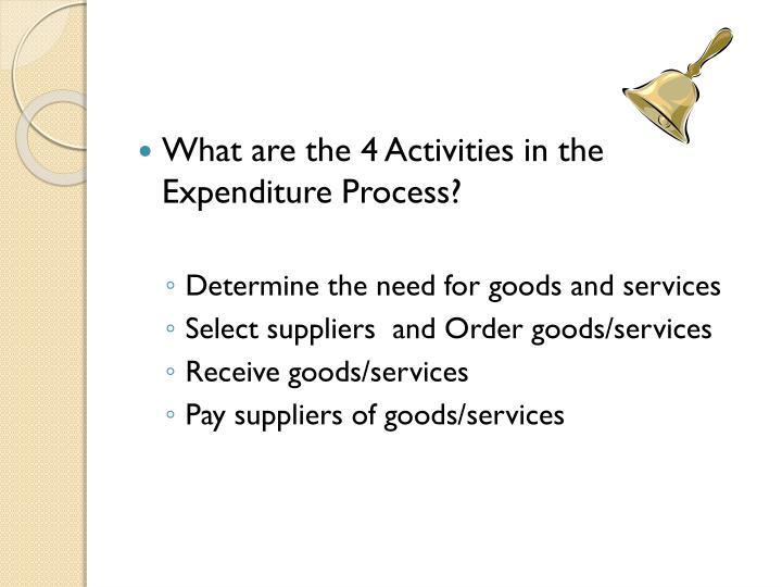 What are the 4 Activities in the Expenditure Process?