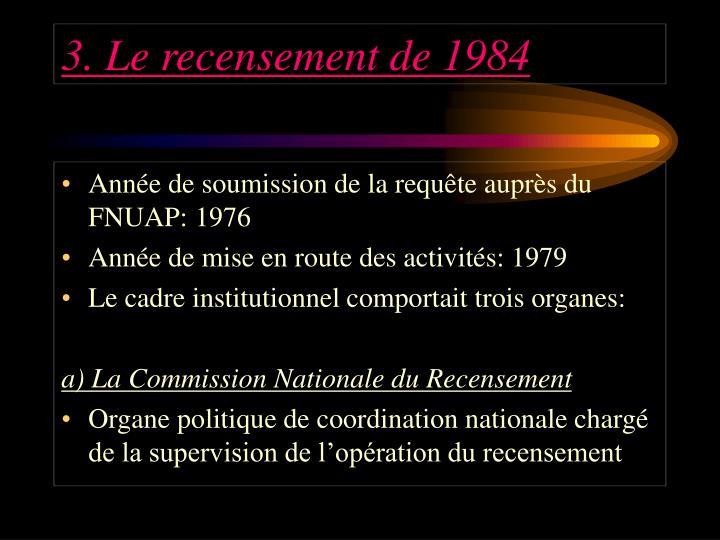 3. Le recensement de 1984