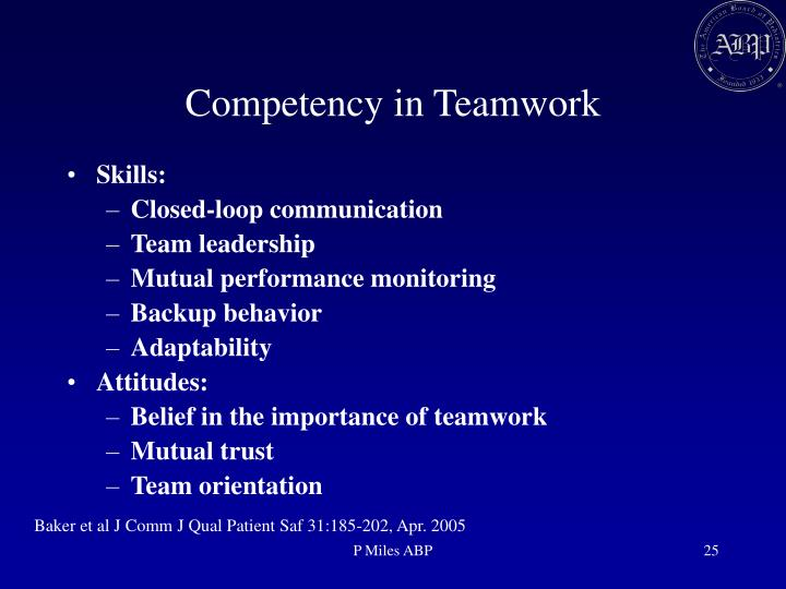Competency in Teamwork