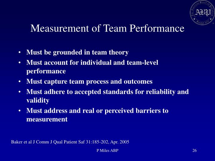 Measurement of Team Performance