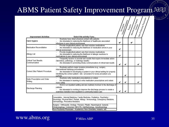ABMS Patient Safety Improvement Program