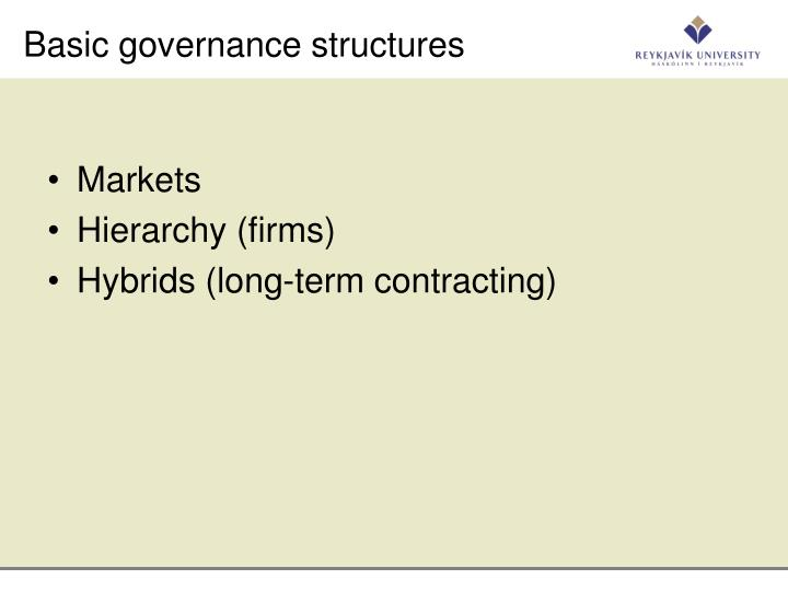 Basic governance structures