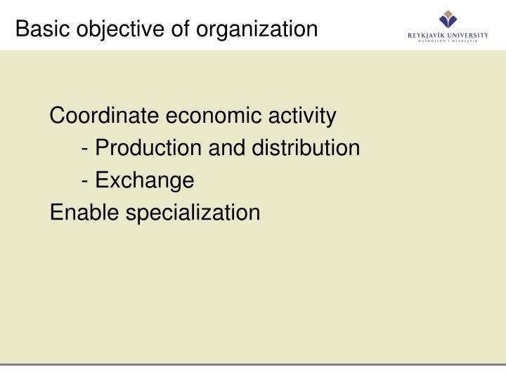 Basic objective of organization