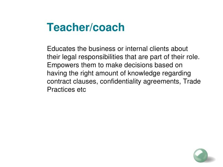 Teacher/coach