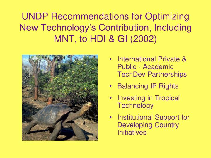 UNDP Recommendations for Optimizing New Technology's Contribution, Including MNT, to HDI & GI (2002)