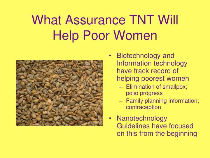 What Assurance TNT Will Help Poor Women