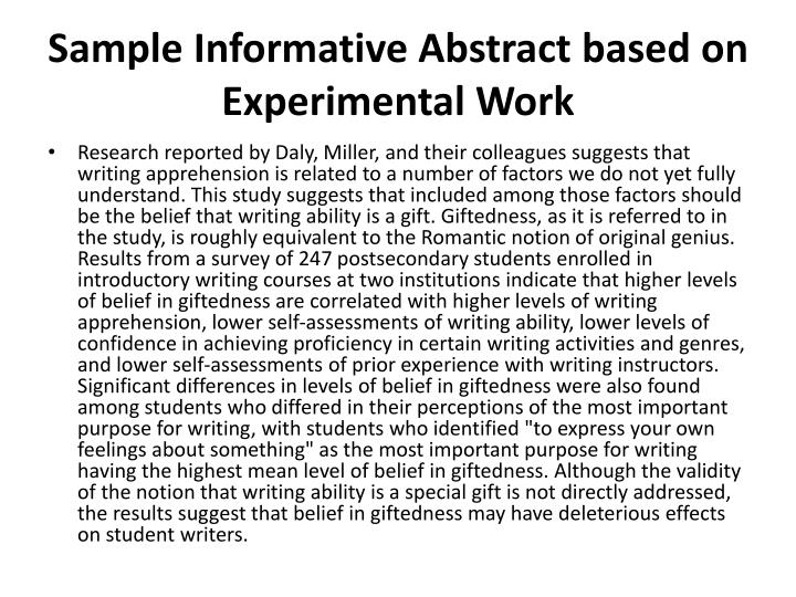 how to write an abstract for apa paper The abstract is a succinct, single-paragraph summary of your paper's purpose, main points, method, findings, and conclusions, and is often recommended to be written after the rest of your paper has been completed.