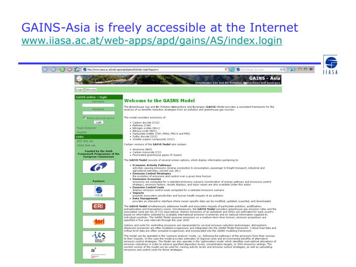 GAINS-Asia is freely accessible at the Internet