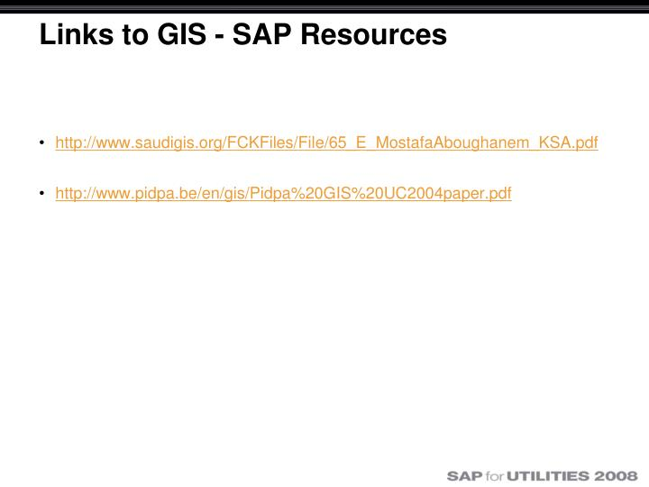 Links to GIS - SAP Resources