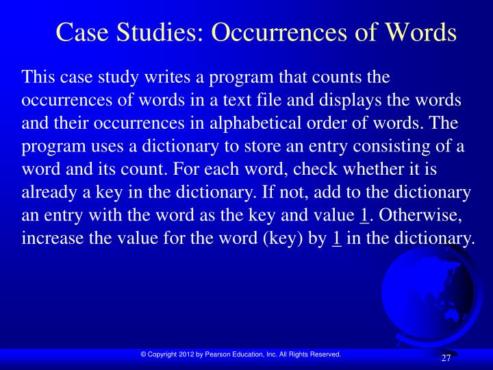 Case Studies: Occurrences of Words