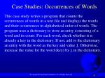 case studies occurrences of words