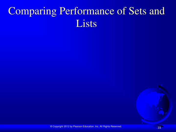 Comparing Performance of Sets and Lists