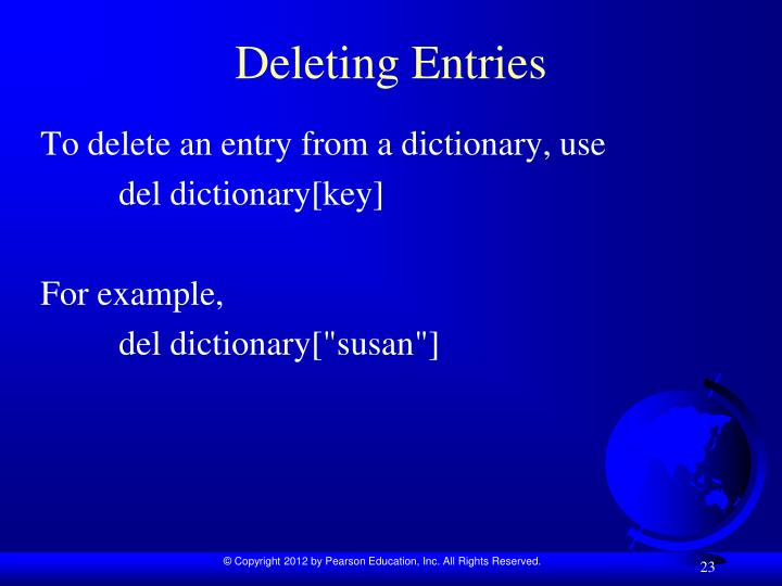 Deleting Entries
