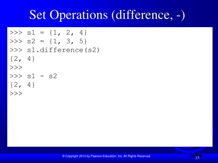 Set Operations (difference, -)