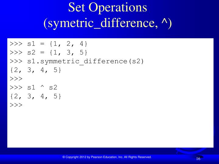 Set Operations (symetric_difference, ^)