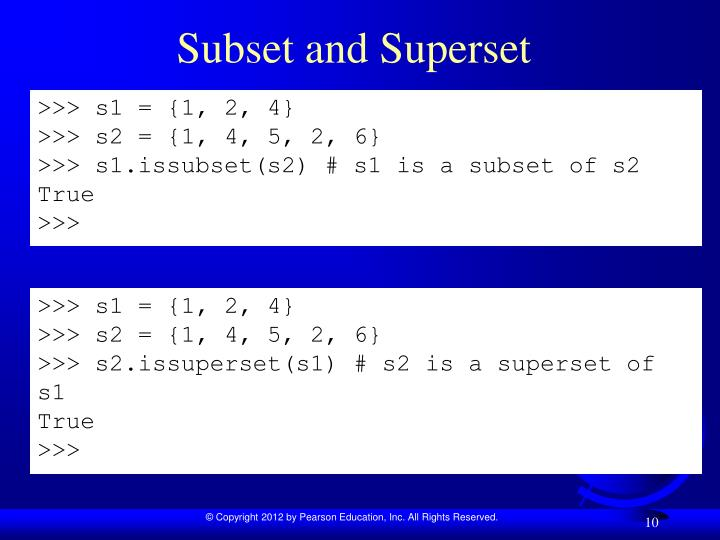 Subset and Superset
