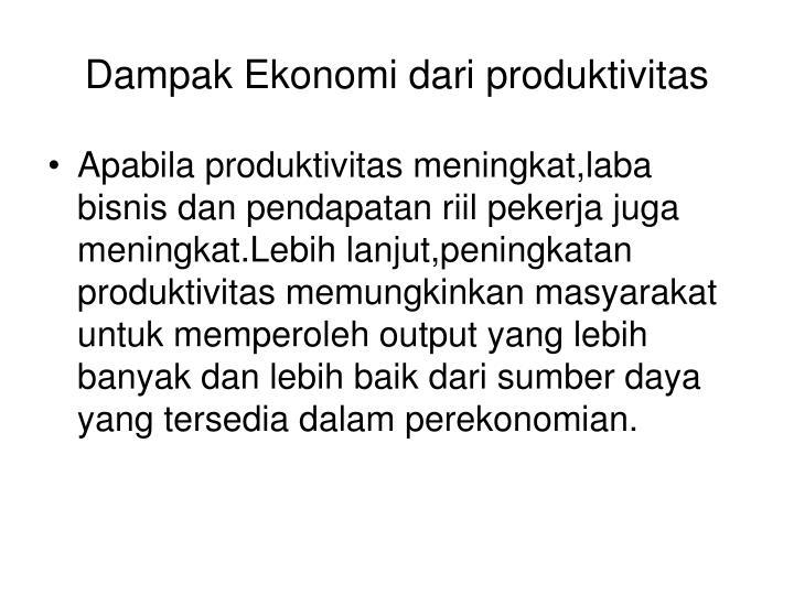 Dampak Ekonomi dari produktivitas