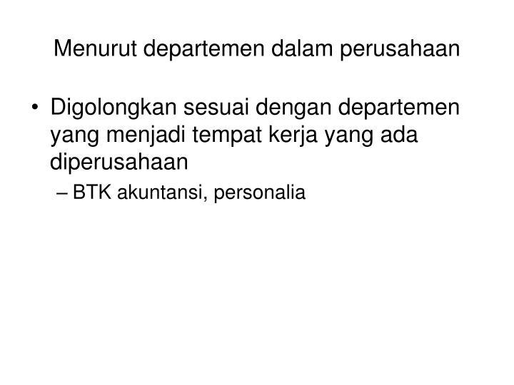 Menurut departemen dalam perusahaan