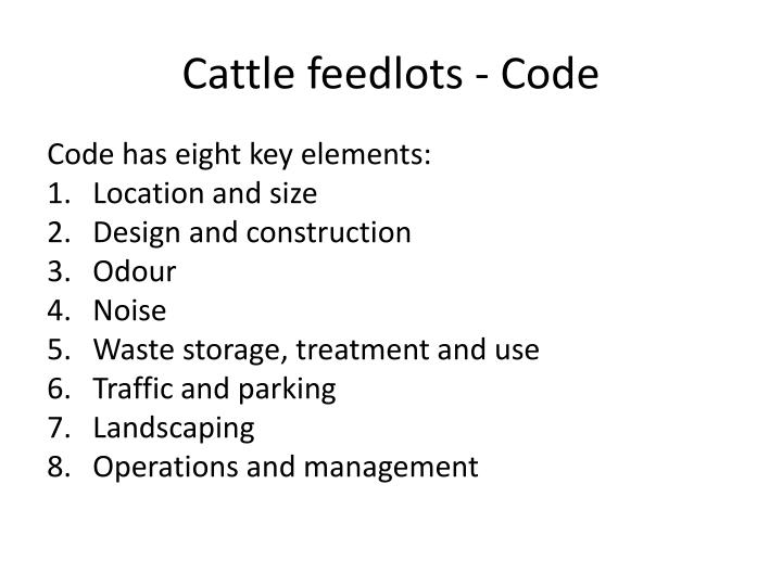 Cattle feedlots - Code