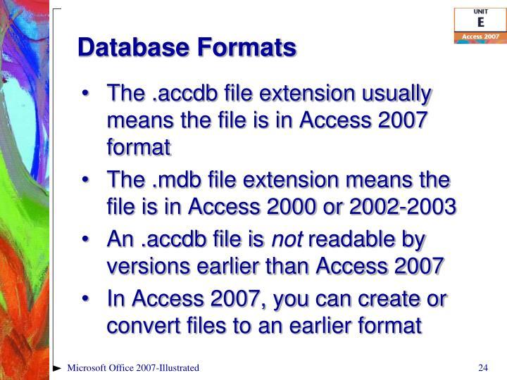 Database Formats