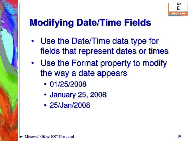 Modifying Date/Time Fields