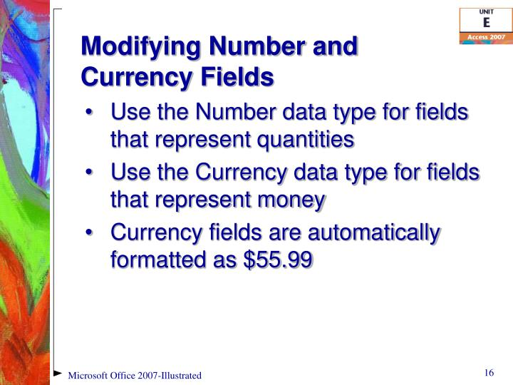 Modifying Number and Currency Fields