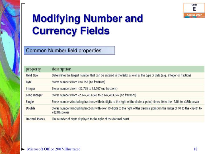 Common Number field properties